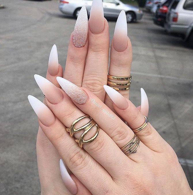 stiletto long ombre nails matte