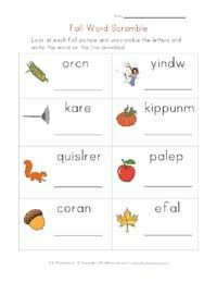Printable Fall Word Activities Scramble Fill In The Letter