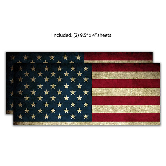 2 American Flag Vinyl Sheets for Chevy / Chevrolet Emblem