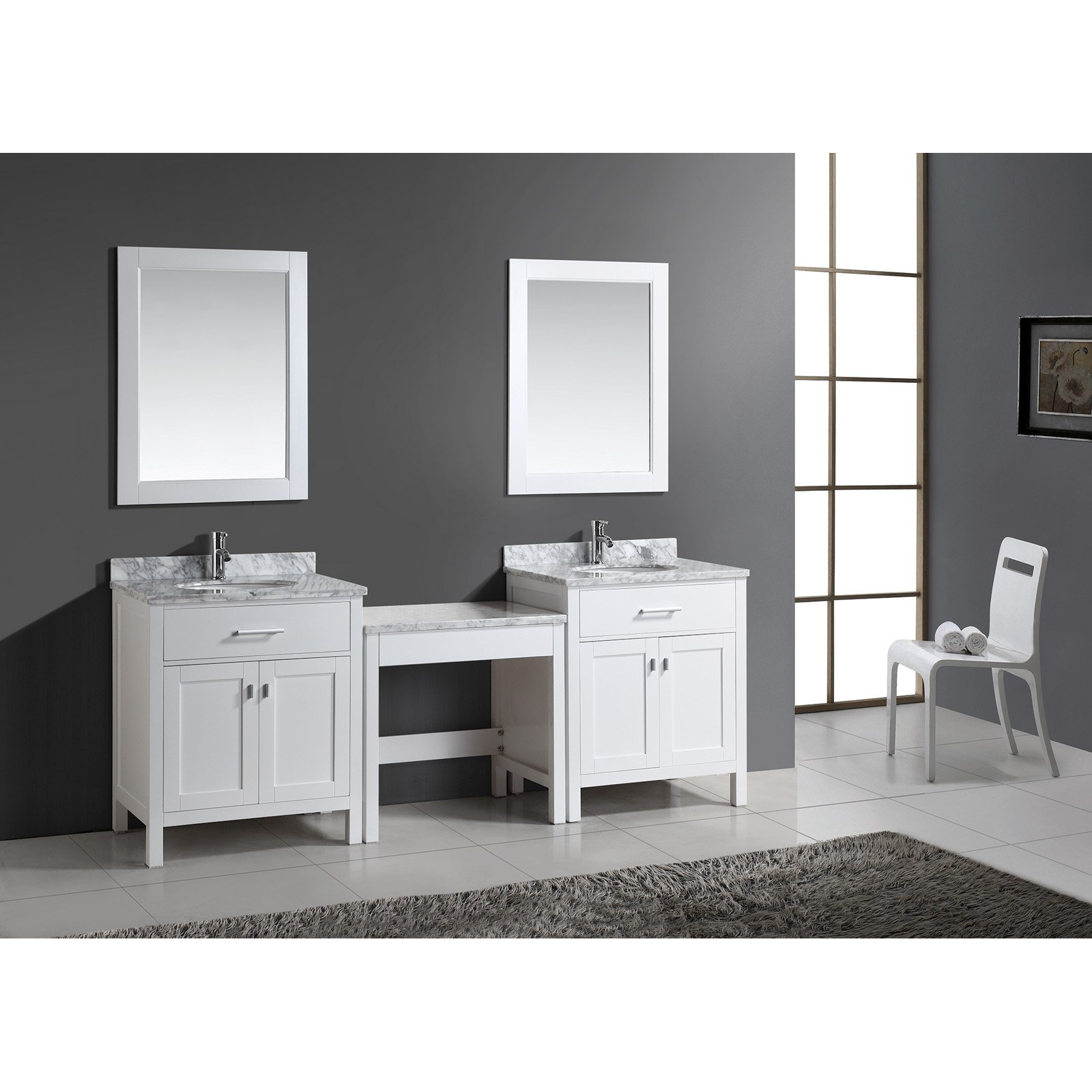 Design Element London 30in. Double Bathroom Vanity with
