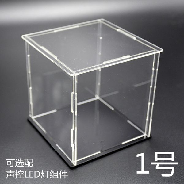 拼酷3d立体金属拼图拼装模型亚克力防尘罩展示盒子可带声控LED灯