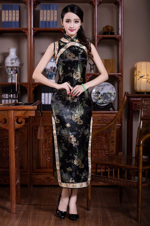 Shanghai Story Vintage Chinese Women s Clothing Satin Polyester Long  Cheongsam Qipao Dress Flower Qipao Dress 3 7bbef73fa80a