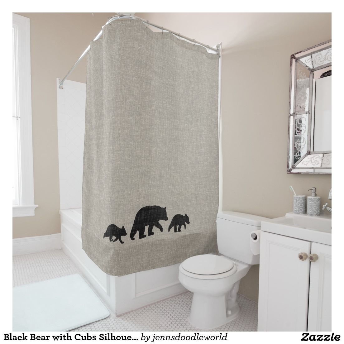 Black Bear With Cubs Silhouettes Shower Curtain Zazzle Com