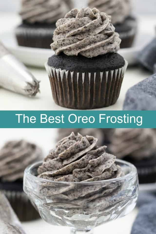 This Oreo Frosting is incredibly silky, light and fluffy and tastes just like the filling of an Oreo cookie! It's perfect for cakes chocolate cupcakes or vanilla cupcakes too! #oreofrosting #oreofrostingrecipe #oreobuttercream #oreofrosting