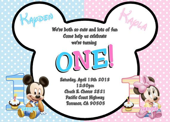 Baby mickey mouse baby minnie mouse twins 1st birthday invitations baby mickey and minnie mouse baby mickey mouse baby minnie mouse twins 1st birthday filmwisefo Image collections