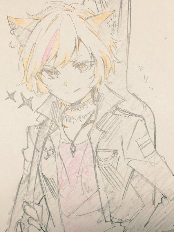 Cat Girl Guitare Dessin Crayon De Couleur Par Hmng Manga
