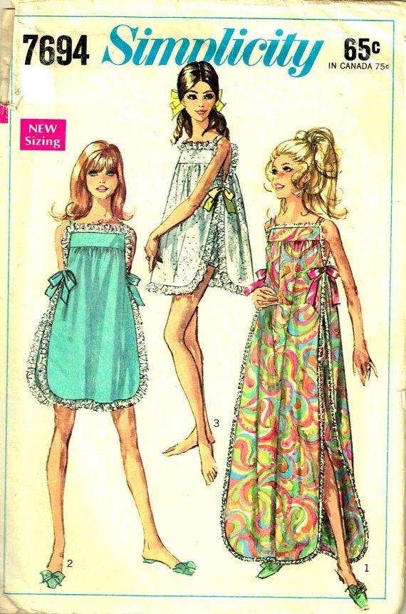 Nightgown Panties Vintage 1960s Misses Simplicity 7694 Sewing ...