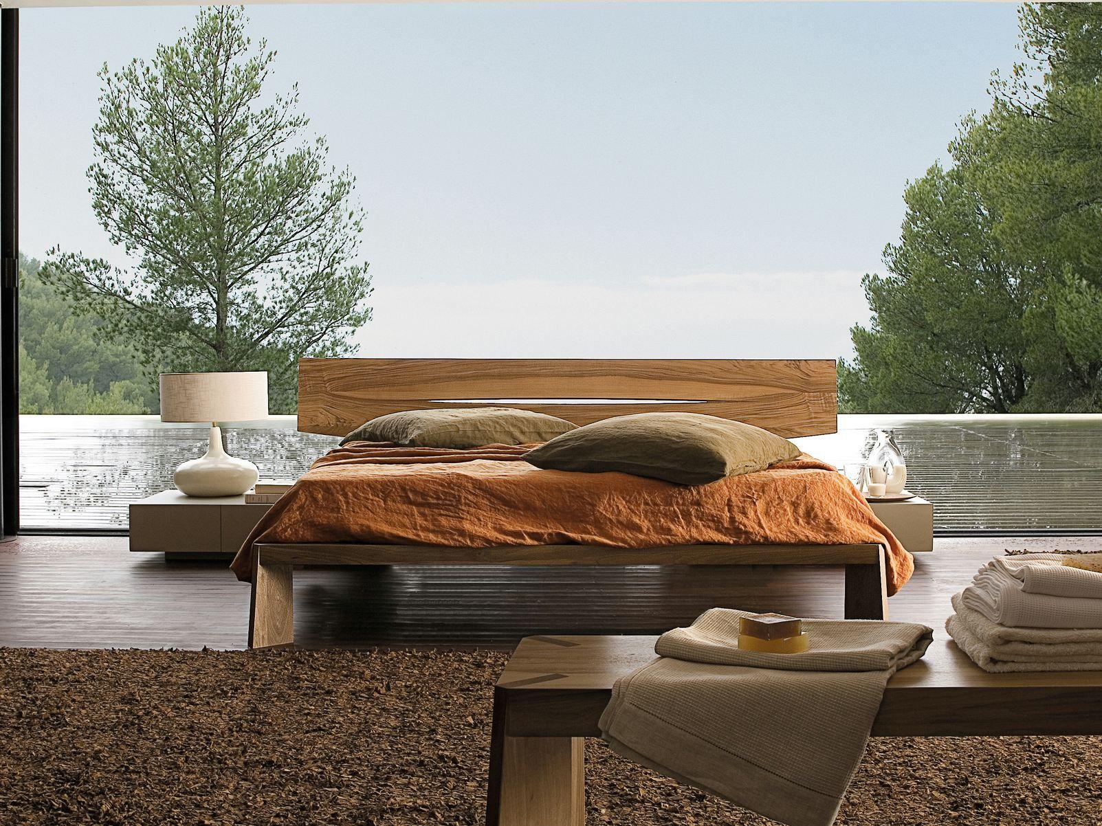 walnut double bed horizon bed roche bobois - Roche Bobois Bedroom Furniture