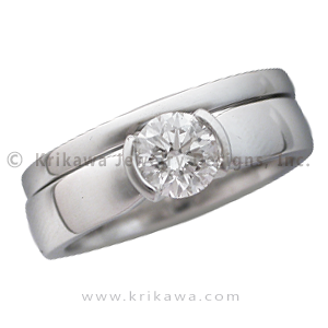 Modern Taper Engagement Ring with Wedding Band - The simple taper design is derived from our Mokume Unique Engagement Ring collection. It is a simple, elegant, timeless setting with no other adornment besides the center stone. 4mm wide.   - This contemporary engagement ring was custom made as a bridal set.