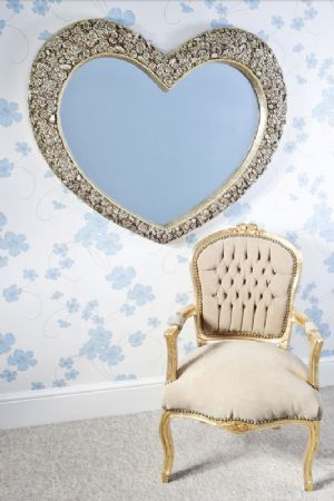 Ginny Large Heart Shaped Mirror With Silver Bronze Fl Frame