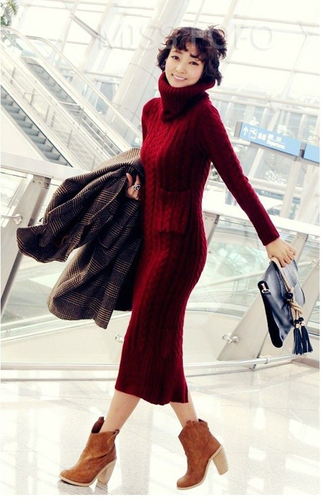 Dluga Welniana Sukienka Dzianinowa Sweter Golf M 5739247775 Oficjalne Archiwum Allegro Long Sleeve Dress Sweater Dress Women Maxi Knit Dress