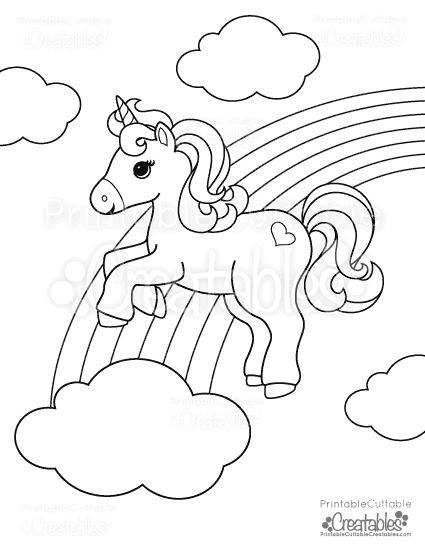 Rainbow Unicorn Free Printable Coloring Page Printable Cuttable Creatables Free Printable Coloring Pages Unicorn Coloring Pages Coloring Pages