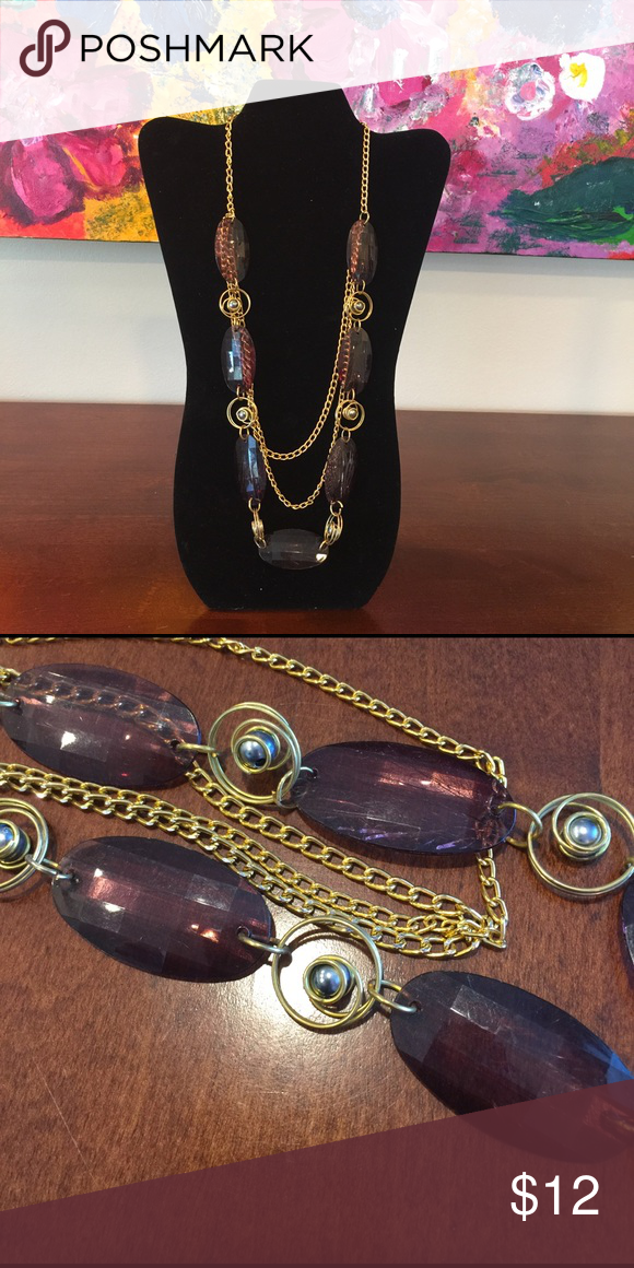 """Purple and gold beaded chain necklace Purple and gold beaded chain necklace - 13.5"""" length - clasp/chain in excellent condition- not Francesca's posting here for exposure. Francesca's Collections Jewelry Necklaces"""