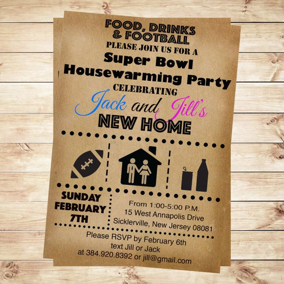 Super bowl housewarming party invitations by for Super bowl party invitation template