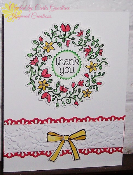 """hand crafted card: Wreath of Flowers by uvgotcarla  ... luv the """"thank you"""" in the center ... Stampin' Up!"""