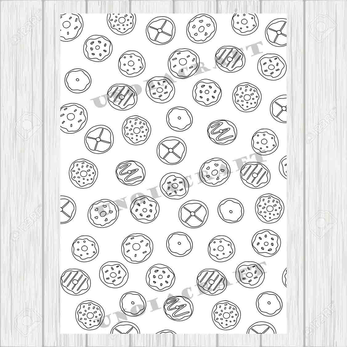 Donut Coloring Page Pdf Zentangle Art Food Sheet Cute