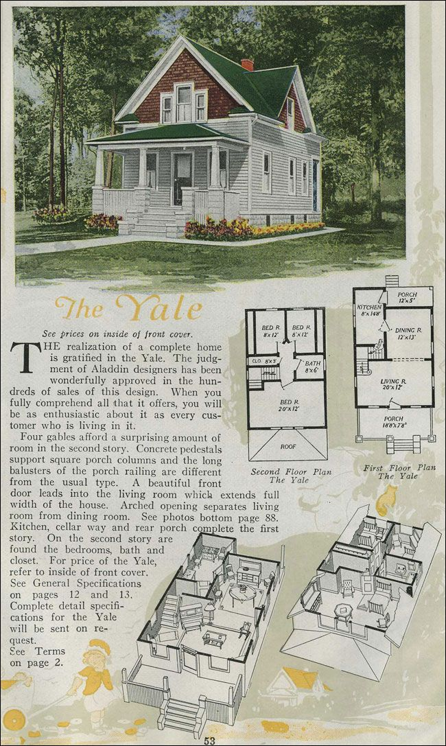 The yale 1920 aladdin homes the yale derives much of its for Gable house plans