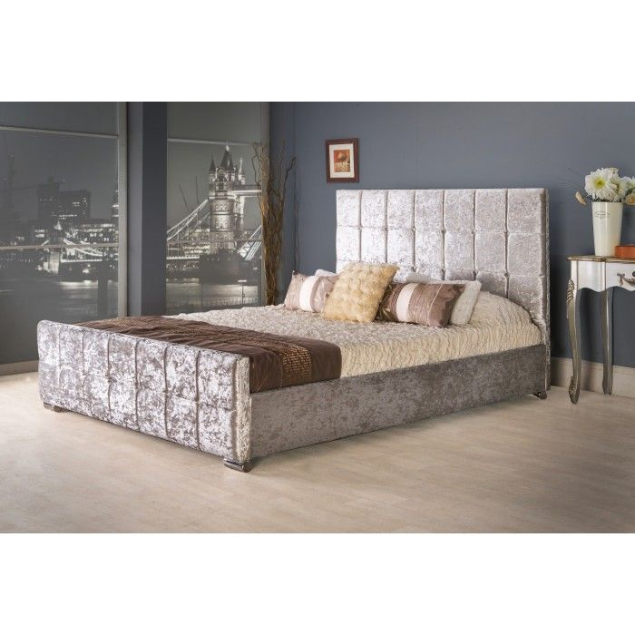 Renata Cube Fabric Upholstered Bed Frame - Luxury Fabric Beds - Beds ...