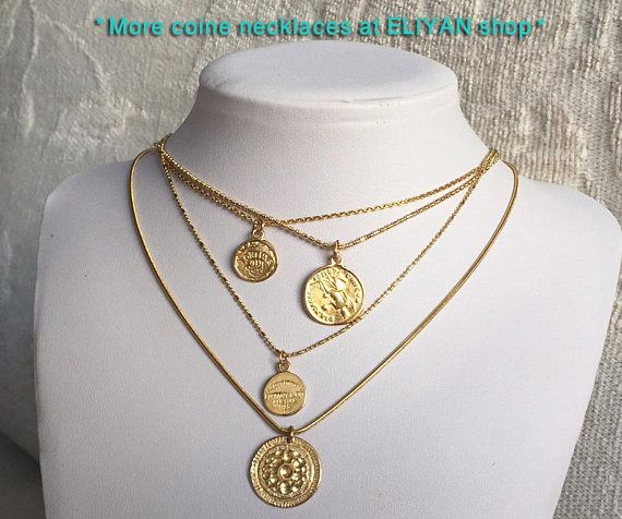 good luck pendant gift for her layering necklace Coin jewelry Women necklace Silver plated Small Coins Necklace