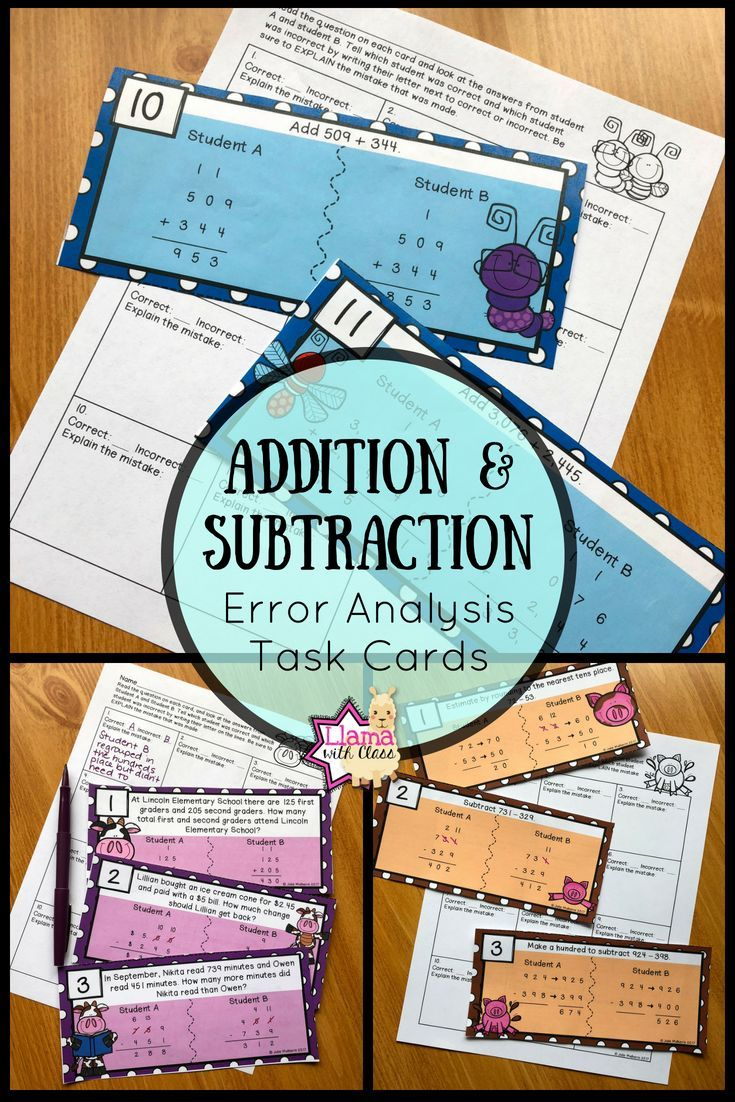 Addition and Subtraction Error Analysis Task Cards Bundle ...