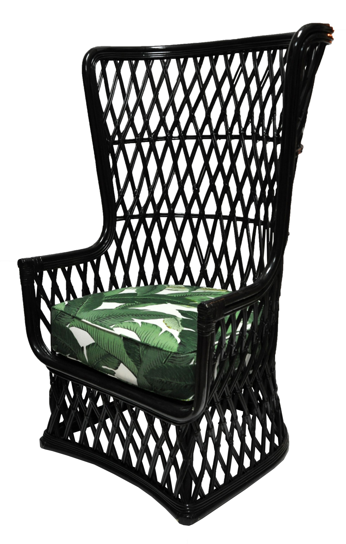 Single Vintage Black Bamboo Rattan High Back Chair