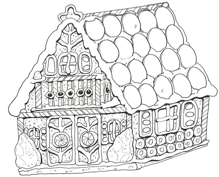 Printable Gingerbread House Coloring Pages Gingerbread