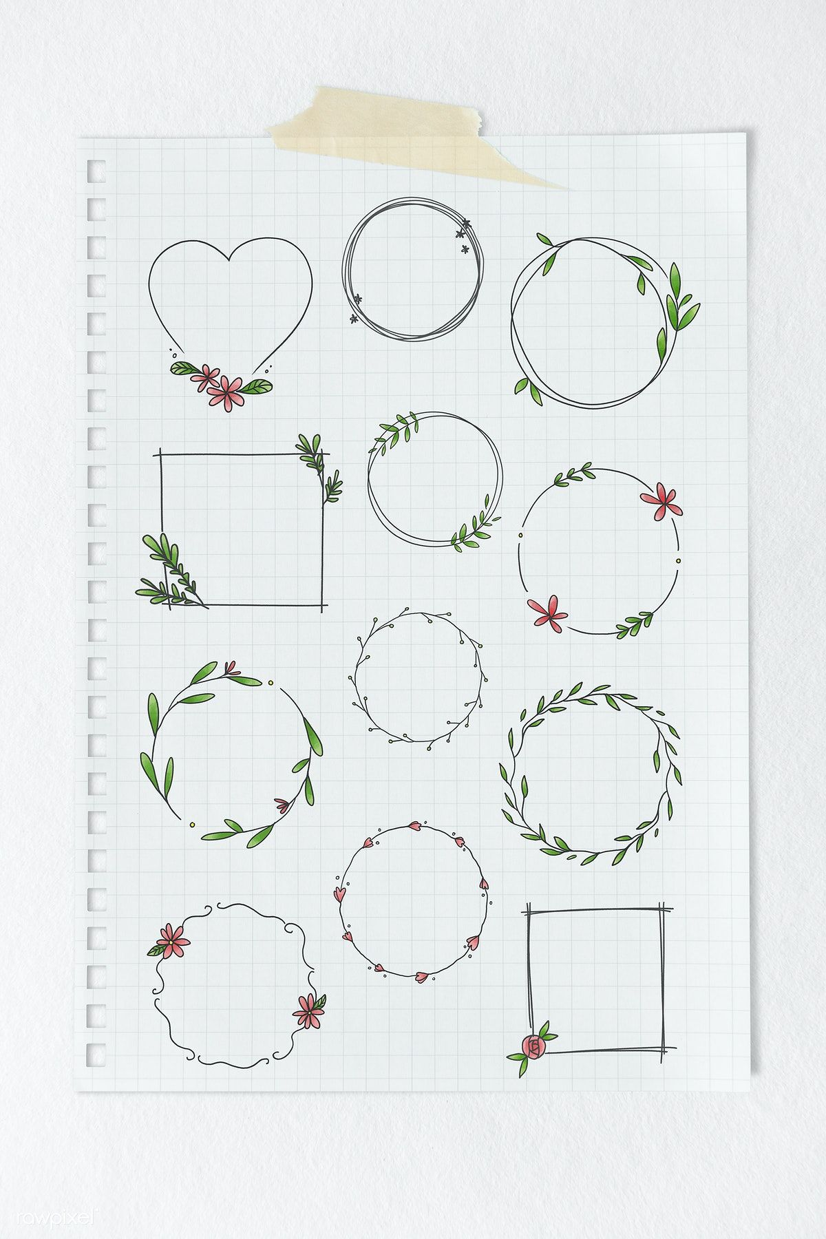 Photo of Download premium psd set of doodle floral wreath on beige background
