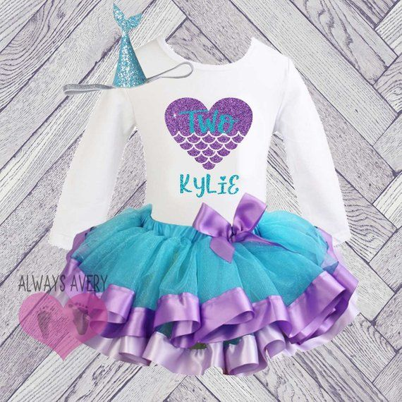 fb49d74aca304 Cute Personalized Purple and Turquoise Glitter Mermaid Birthday Tutu Outfit  Two Year Old. This set is perfect for 2nd birthday celebrations, second  birthday ...