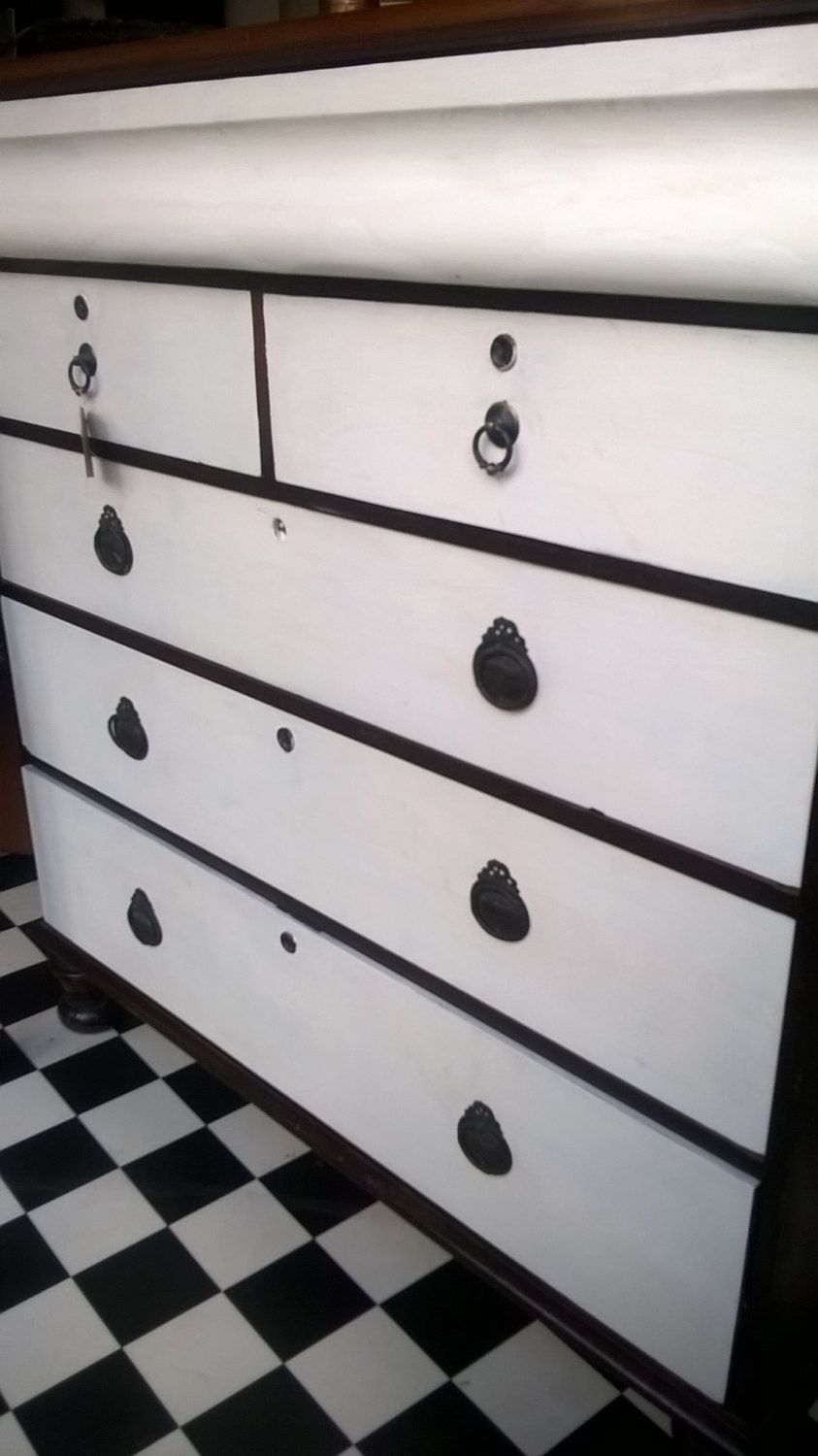 Antique Chest of Drawers with Re Worked Drawers on Bun Feet, Shabby ...