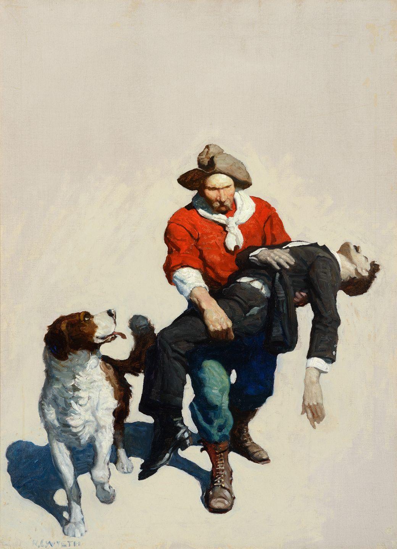 """I love N.C. Wyeth N.C. WYETH The Lost Vein, Oil on Canvas, 34"""" x 25"""""""