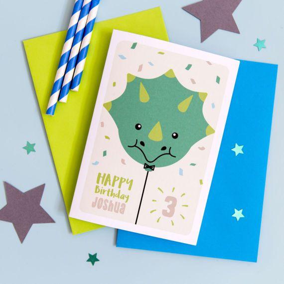 Childrens Personalised Dinosaur Birthday Card Childrens Birthday