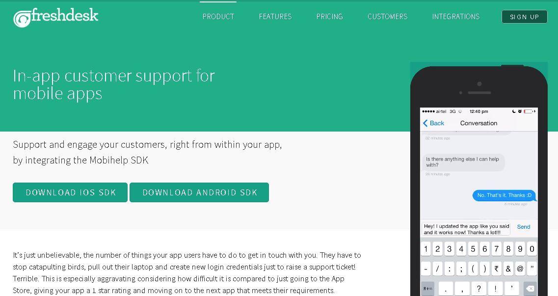 Freshdesk's Mobihelp In-app Customer Support Tool