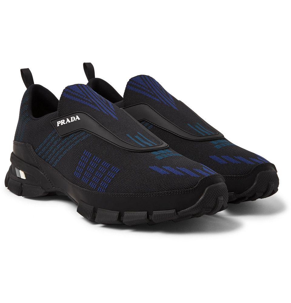 4c8a7def2e05c Prada - Rubber-Trimmed Nylon-Jacquard Slip-On Sneakers