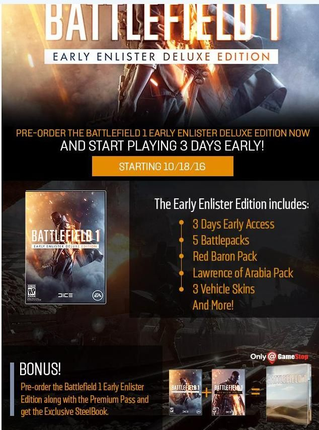 Battlefield 1 Is Doing The Exact Same Early Access Preorder