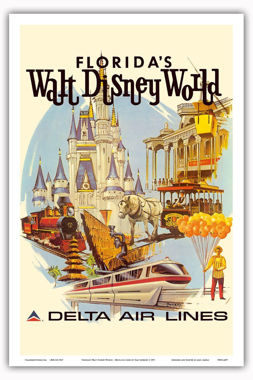 12in x 18in Vintage Airline Travel Poster Art Print - Florida Walt Disney World Delta Air Lines - PRTB4497 by IslandArtStore on Etsy https://www.etsy.com/listing/228318037/12in-x-18in-vintage-airline-travel