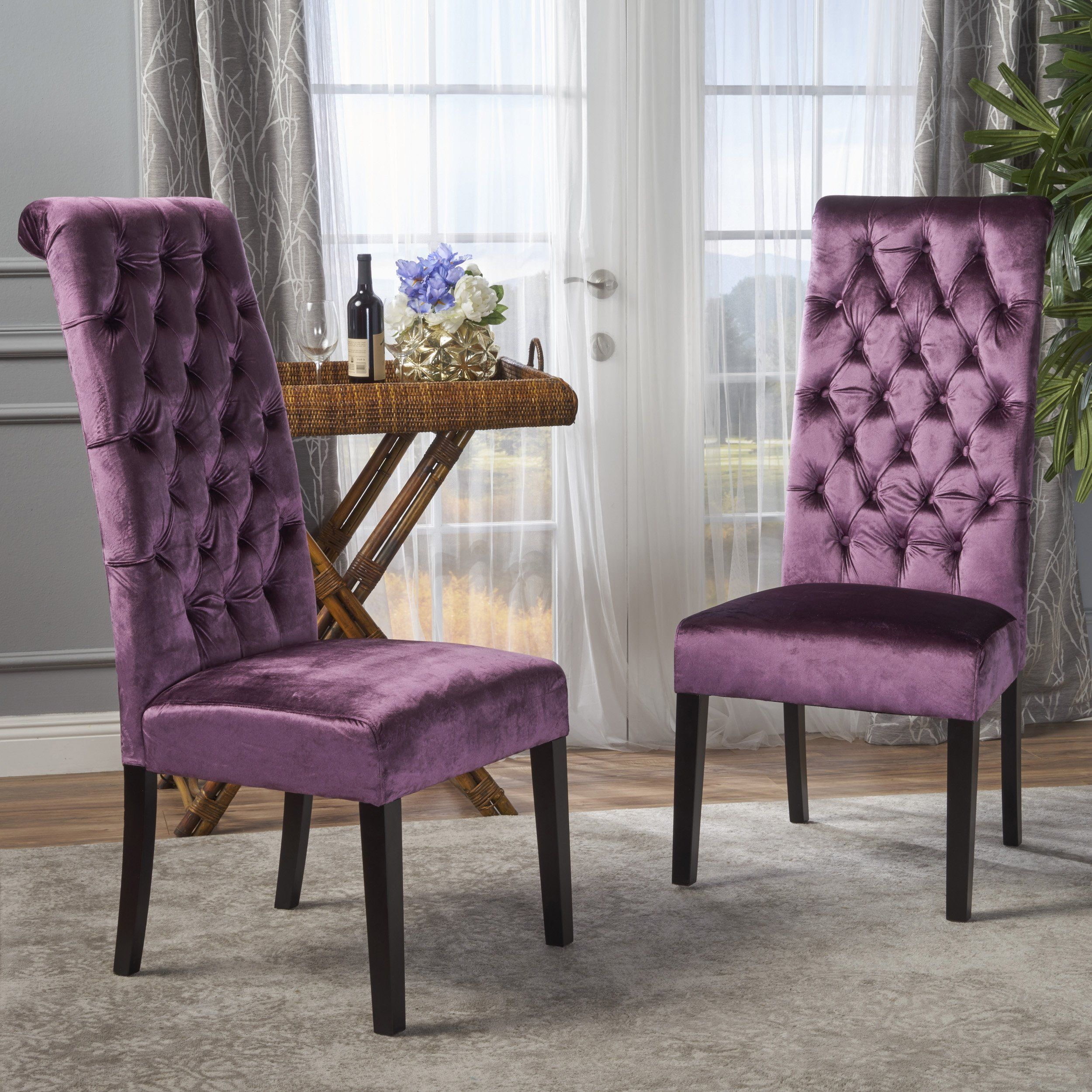 Leona Tall Back Tufted New Velvet Dining Chair (Set of 2