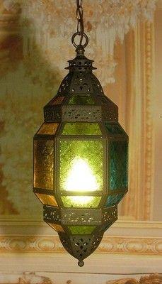 Incredible Antique Vintage Multi Color Glass Lantern Pendant ...