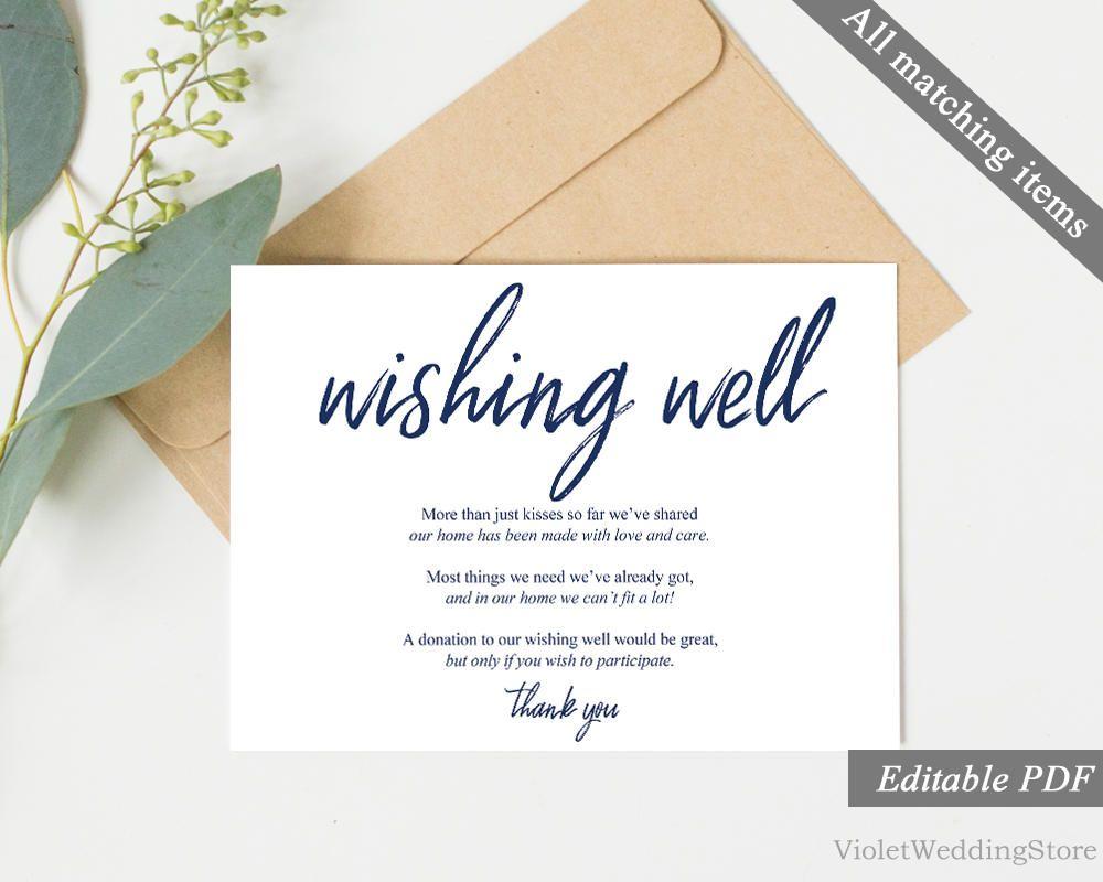 Modern Navy Wishing Well Card Template Printable Elegant Calligraphy Wedding Advice