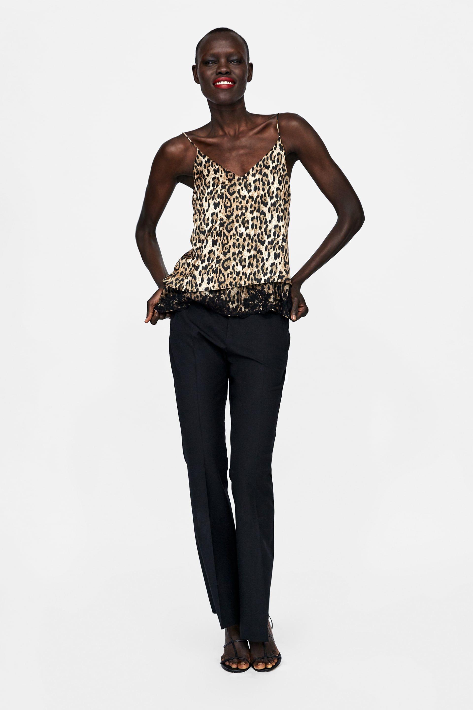 d06e9691 ZARA - WOMAN - ANIMAL PRINT CAMISOLE TOP   dziewczyny   Leopard ...