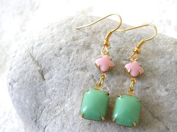 Vintage Style Seafoam Mint Green & Rose Pink Glass Stone Dangle Earrings, Bridesmaid gifts, Sister Gift