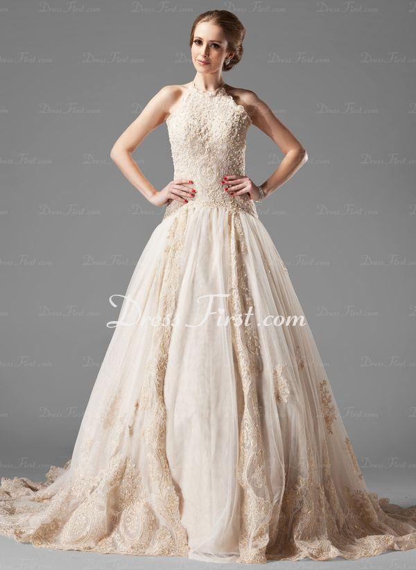 A-formet/Prinsesse Halter Chapel Slep sateng tyll Brudekjole med blonder Perlebesydd (002000154) - DressFirst
