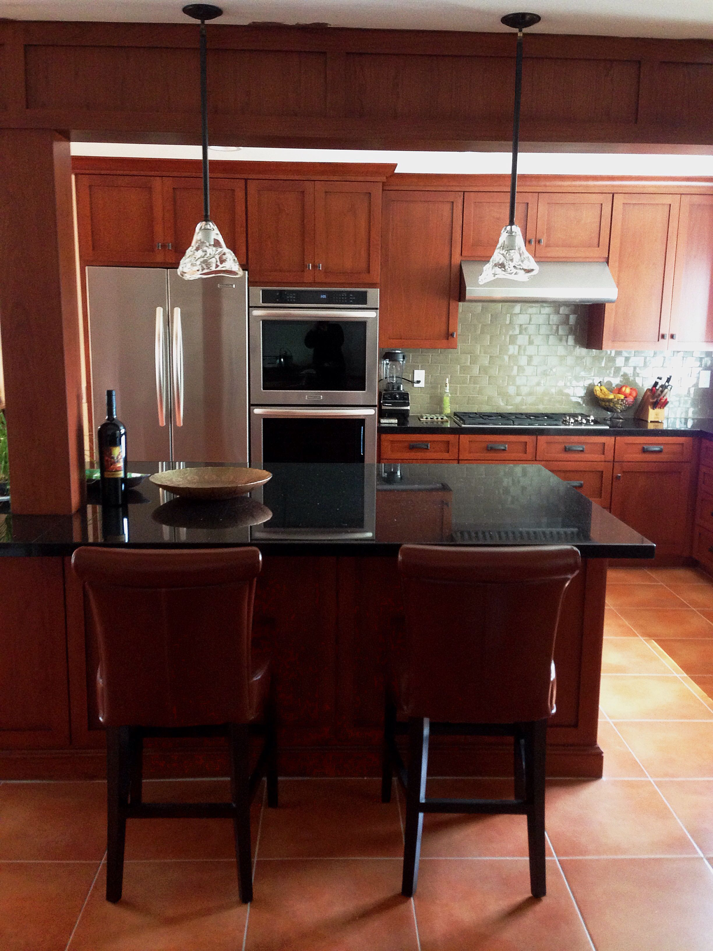 Kitchen Remodel Modern Craftsman Cherry Cabinets Mexican Handmade Tile Backsplash