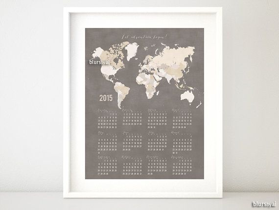 8x10 16x20 printable wall calendar for 2015 2015 printable items similar to printable wall calendar for 2016 printable calendar earth tones world map calendar pdf 2016 calendar org on etsy gumiabroncs Gallery