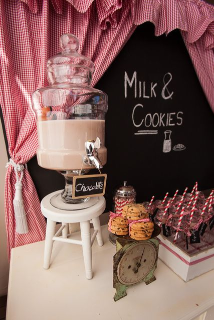 Milk and cookies at a Farm Party #farm #party