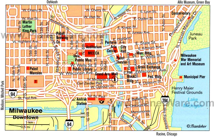 Milwaukee Map - Tourist Attractions | Maps | Map, Milwaukee map ...