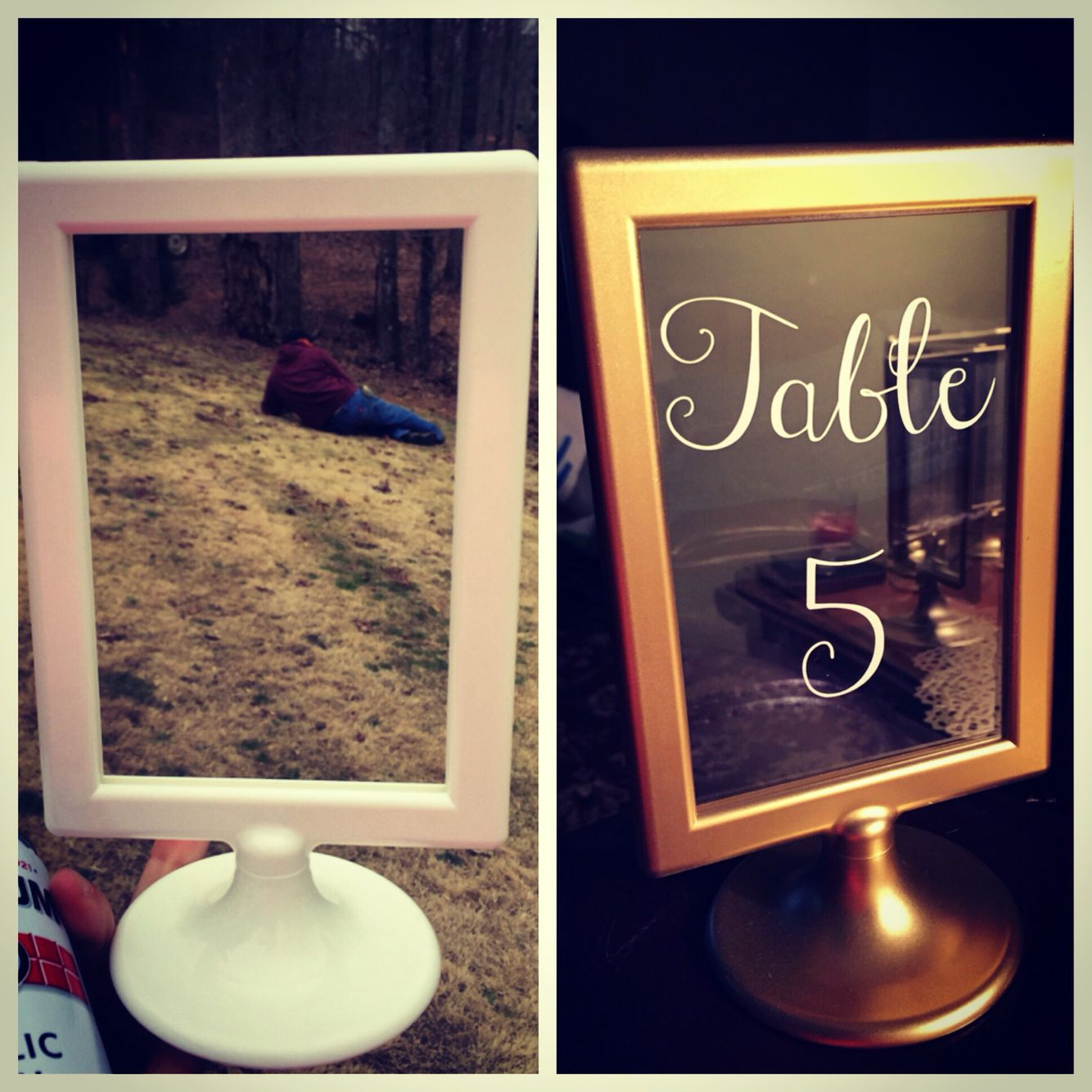 IKEA 99cent picture frame turned into DIY wedding table ...