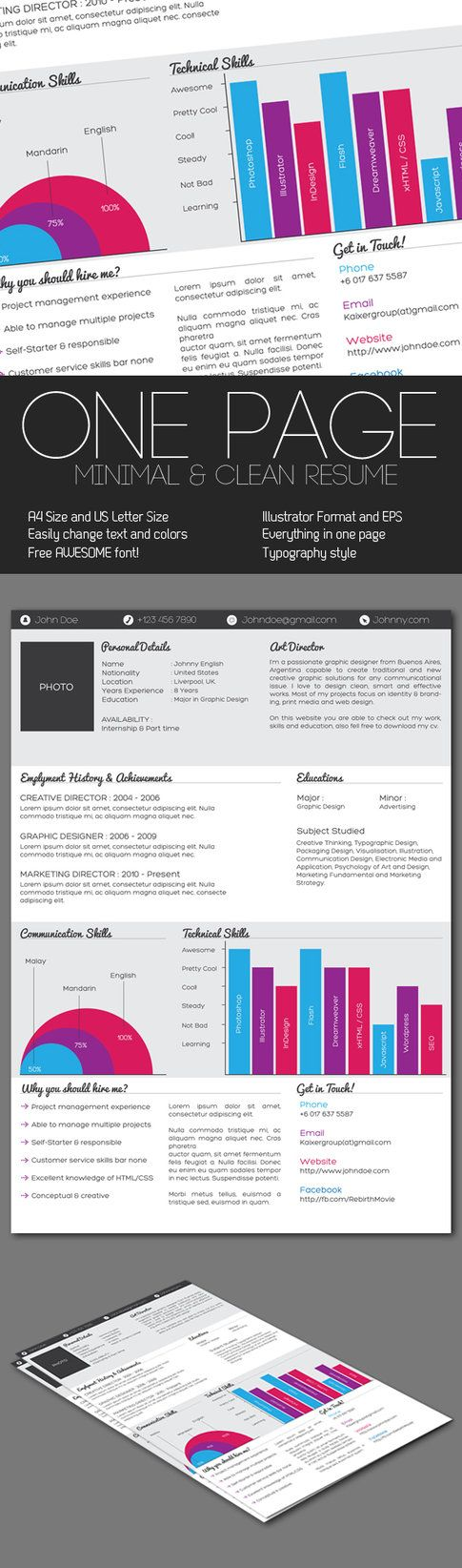 Clean One Page Resume By Kaixergroup On Deviantart  Infographic