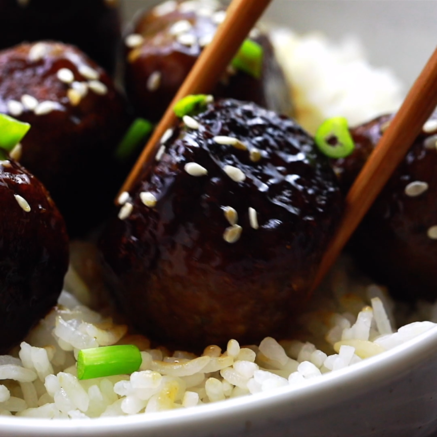 These Vegan Teriyaki Meatballs have the perfect texture and taste divine They are incredibly easy to make coated in a homemade sweet and sticky teriyaki sauce and so mea...