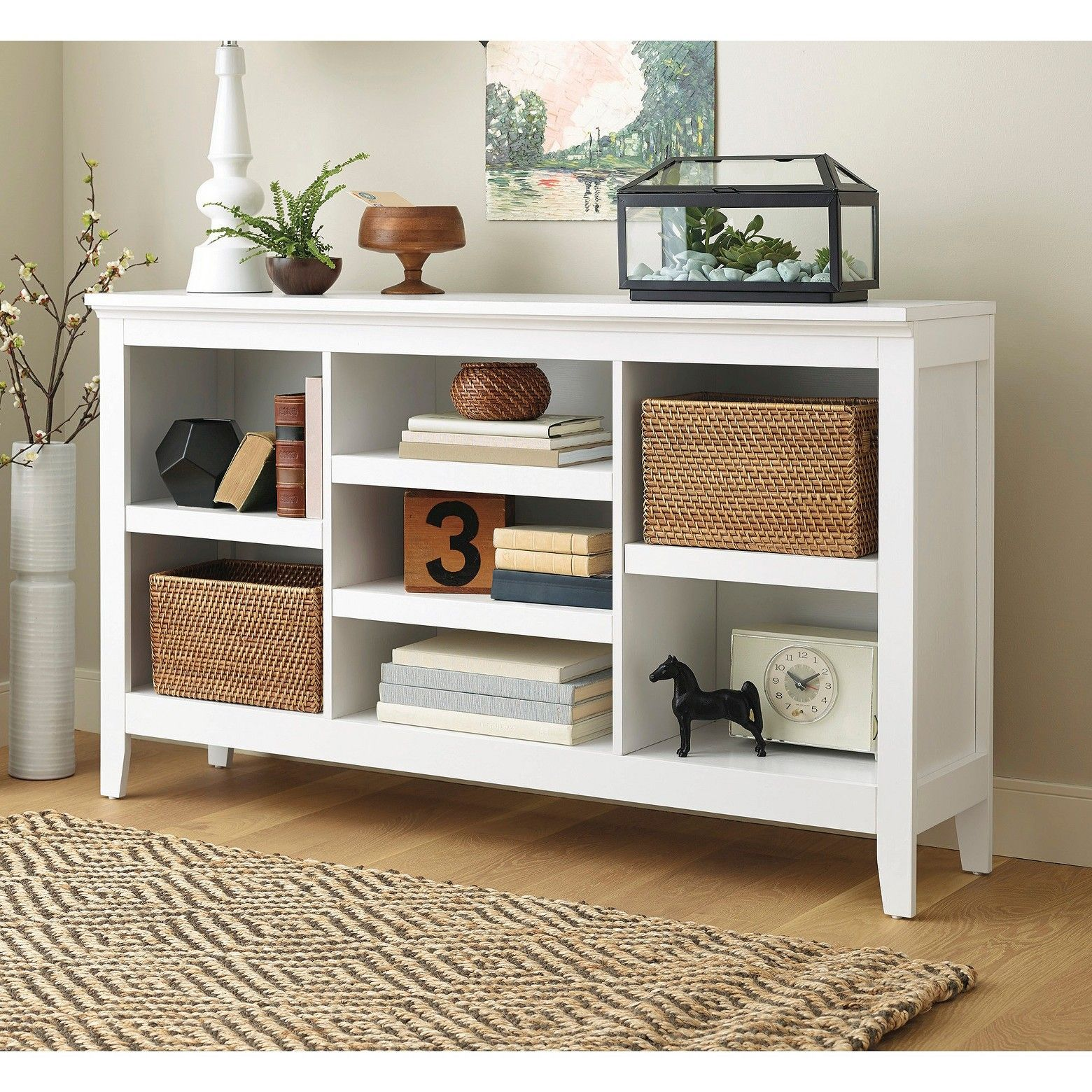 p The Threshold Carson Horizontal Bookcase in white does double duty