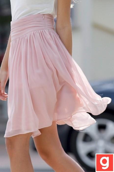 Pale pink floaty skirt